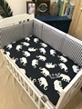 1pc Cute Elephant Stripes Navy Blue Khaki Baby Cot Protection bumper baby bed Sheets