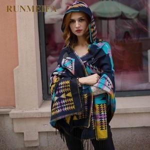 Image 4 - 2019 novas mulheres inverno boho casaco com capuz capa poncho senhoras xales envoltório feminino pashmina xadrez cashmere cobertor cachecol bufanda mujer