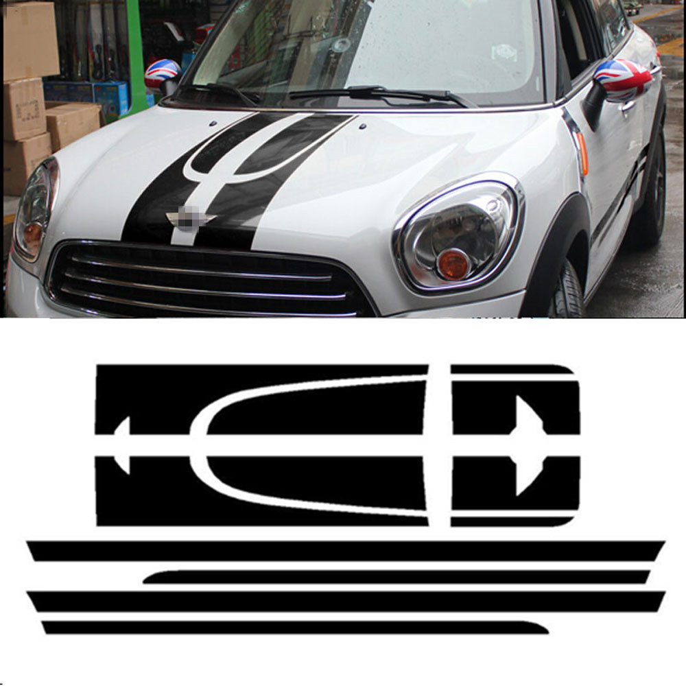 Car Styling Side Racing Stripes Hood Rear Engine Kit Cover Trunk Vinyl Decal Sticker for MINI Cooper Countryman R60 2013-2016 aliauto car styling car side door sticker and decals accessories for mini cooper countryman r50 r52 r53 r58 r56