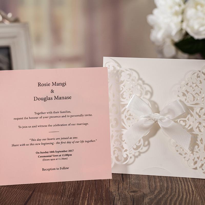 1pcs Sample Pink Laser Cut Luxury Wedding Invitation Card Elegant ...