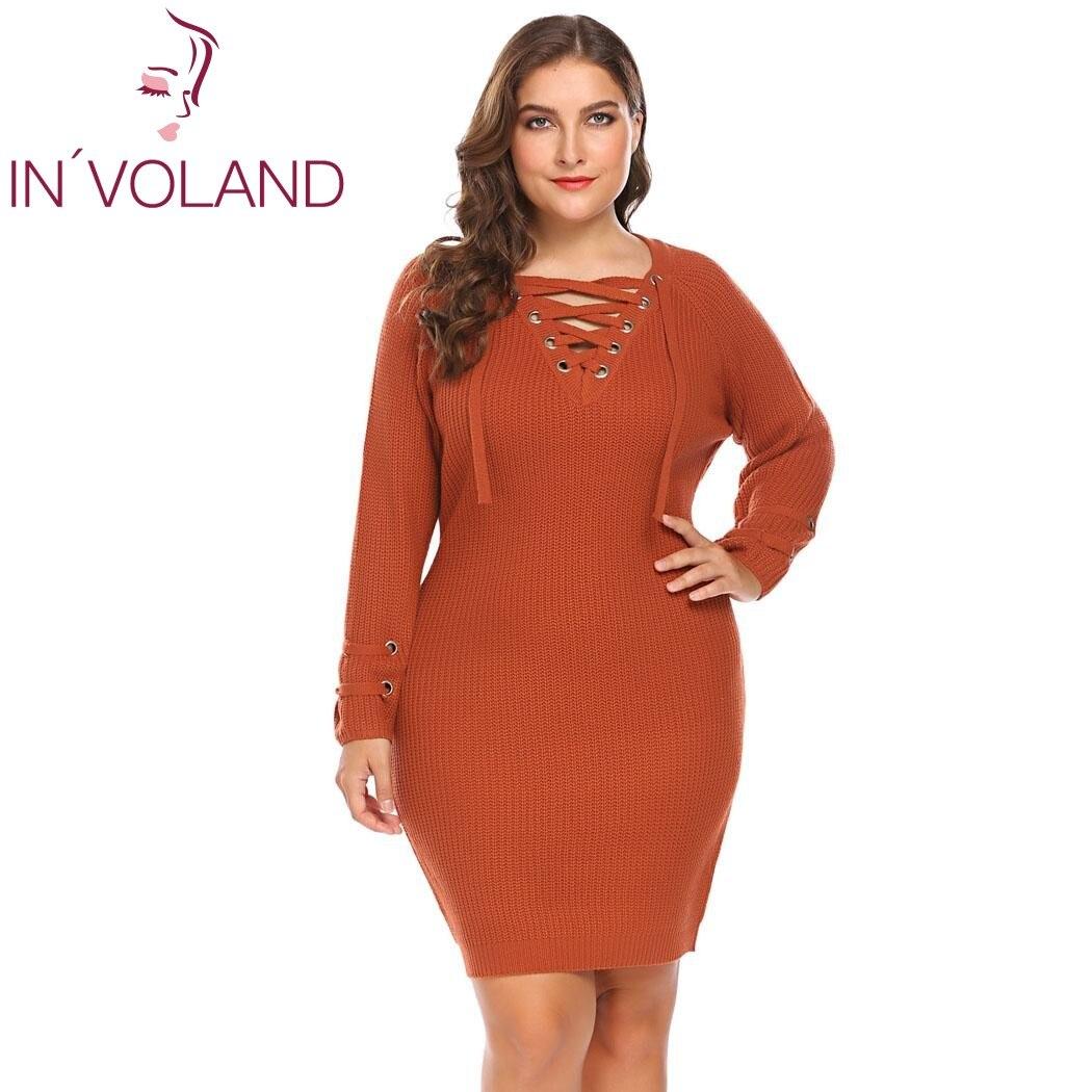 IN'VOLAND Large Size XL 5XL Women Pencil Dress Autumn Cozy Lace Up Knit Big Sweater Bandage Silm Bodycon Dresses Plus Size