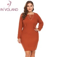 IN VOLAND Large Size XL 5XL Women Pencil Dress Autumn Cozy Lace Up Knit Big Sweater