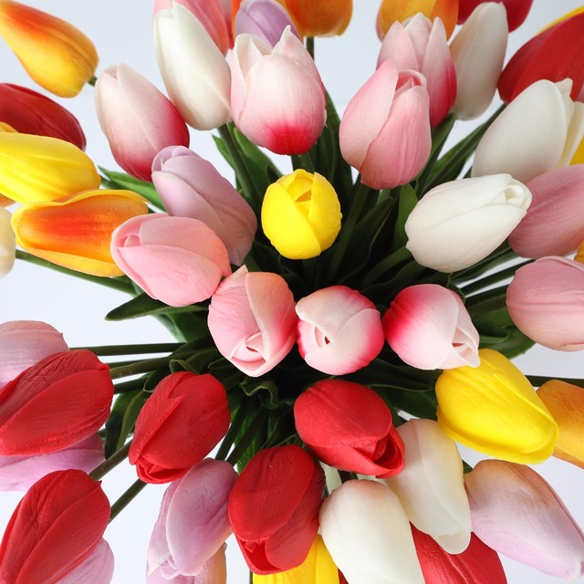 Realistic Artificial Tulip Flowers Set
