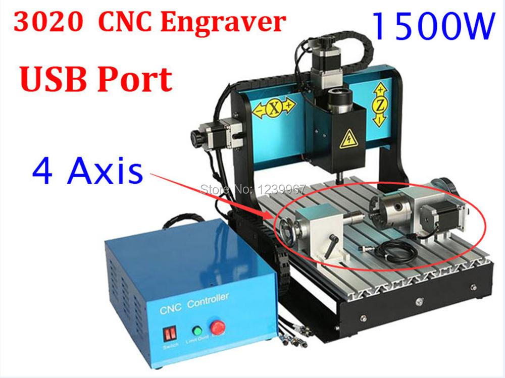 4 Axis 1500w CNC 3020 Engraving Machine 1.5kw Spindle Motor with USB Port MACH3 AC220V/110V Control 4 Axis 3020 CNC Router