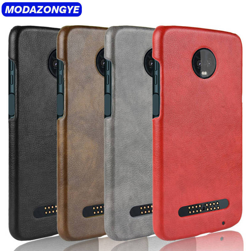 d092b3046 For Motorola Moto Z3 Play Case Moto Z3 Play Case Hard PU Leather Back Cover  Phone