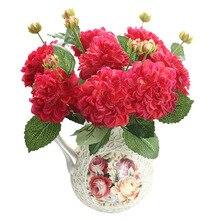 Silk flower wedding roses dahlias Artificial flowers fall vivid fake leaf bridal bouquets decoration