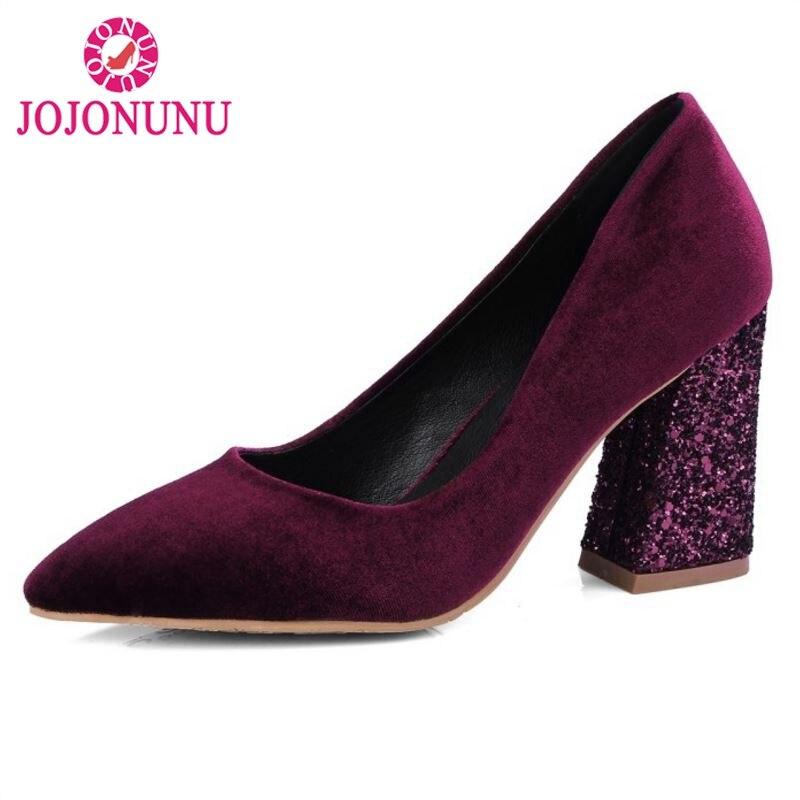 Club Hauts Chaussures Parti Marque vin bleu Noir Rouge Pointu 32 Femmes Lady Talons Taille Pompes Épais 42 Sexy Jojonunu Talon À Brillent Office Bout 18Uwx0q1T