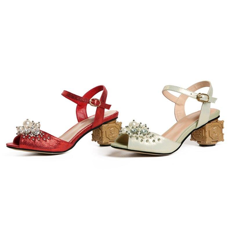 red De Mujeres Zapatos Cuentas Peep Extraño Sandalias Sandalia Mujer Fanyuan Fancy Tacones Apricot Toe Gladiador Moda Altos nHaq5dxT0w