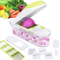 12 in 1 Multifunction Quick Dicer Stainless Steel Vegetable Chopper Slicer Cutter Potato Onion Chopper With Container KC1036