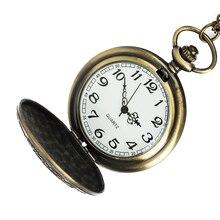 Vintage Bronze Chinese Style Dragon Design Quartz Pocket Watch With Necklace Chain Best Gift