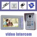 DIYSECUR 7 inch Video Door Phone DoorBell Intercom System 125KHz RFID Password Camera + Remote Control + Strike Lock White