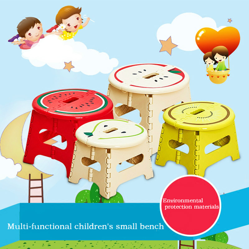 Quality Thickening Mini Stool Children Cartoon Folding Stool Non-slip Fruit Creative Plastic Bench Stool Stool Portable Chair