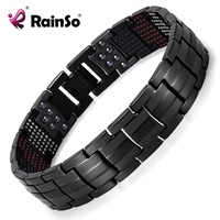 Rainso Unique Mens Health Bracelet Multi Row 4 Elements Therapy Bracelet Charm Black Titanium Bangles 8
