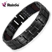 Rainso Unique Mens Health Bracelet Multi Row 4 Elements Therapy Bracelet Charm Black Titanium Bangles 8
