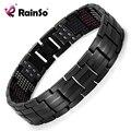 """Rainso Unique Mens Health Bracelet Multi Row 4 Elements Therapy Bracelet  Charm Black Titanium Bangles 8.5""""  OTB-1537BK-1"""