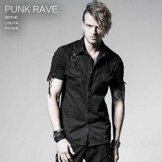 PUNK RAVE Men Gothic Personality Casual Blouse Steampunk Rock Heavey Metal Black Men Tops Shirt Short Sleeve Summer Blouse