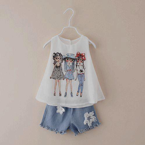 2-7 anos meninas de verão shorts definir shirt + denim jeans cowboy roupas meninas conjuntos de roupas por atacado meninas roupas c409
