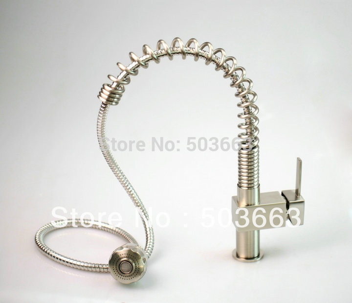 Fashion Nickel Brushed Single Handle Kitchen Faucet Basin Tap Sink Vessel Mixer Vanity Faucets L-0148 Mixer Tap Faucet modern nickel brushed bathroom basin faucet single handle vessel sink mixer tap