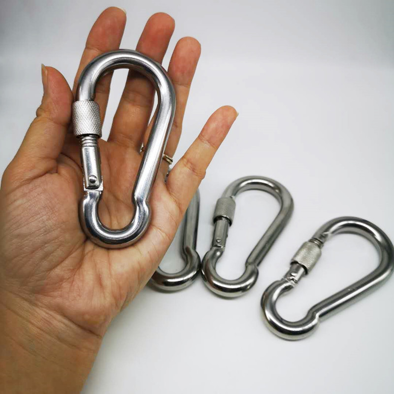 4pcs M10 Metal Screw Lock Carabiner Hook Snap Clip D-Ring Outdoor Snap