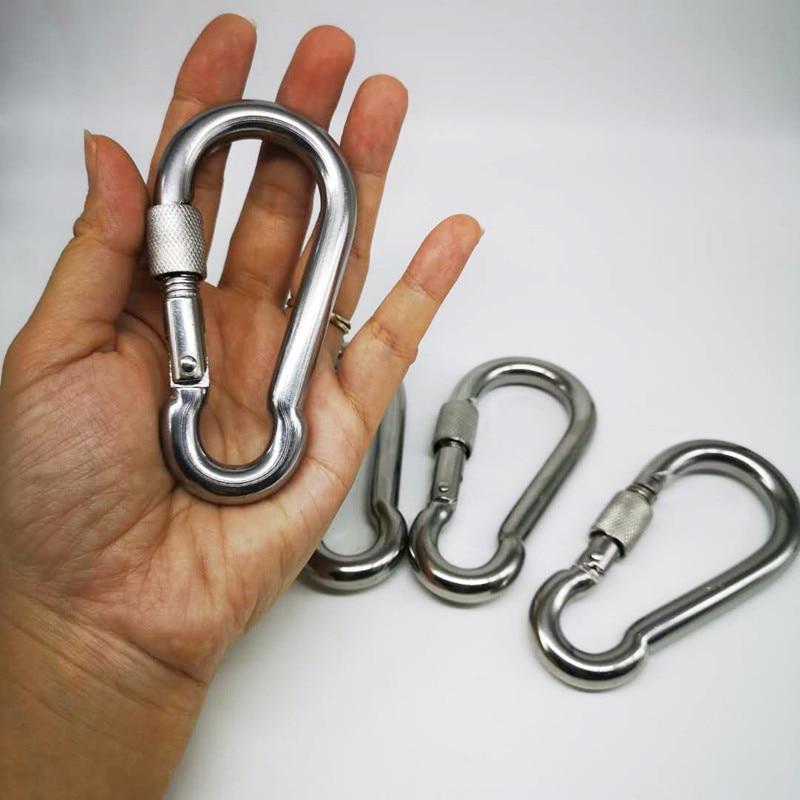 4pcs M10 Metal Screw Lock Carabiner Hook Snap Clip D-Ring Outdoor Snap