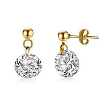 4 Carats CZ Cubic zirconia Antiallergic Titanium Steel Stud Earrings For Women Female Fashion Jewelry Wedding Earring