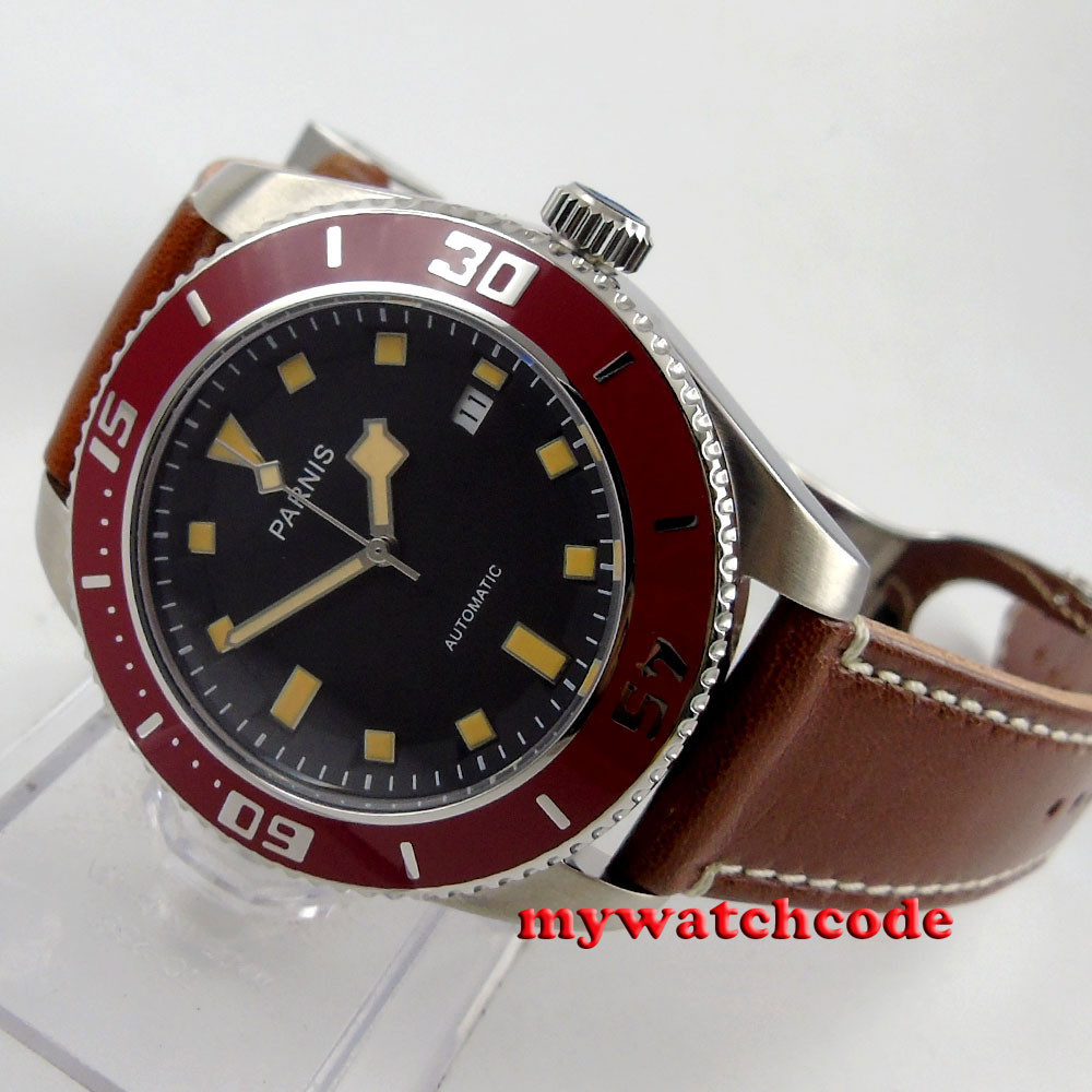 43mm Parnis black dial 10TAM water resistance automatic mens diving watch 591B