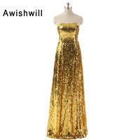 Gold Lovertjes Prom Dresses 2018 Nieuwe Collectie Afrikaanse Jurken Lange Sparkly Pailletten Jurk Rode Loper Jurken Avondfeest