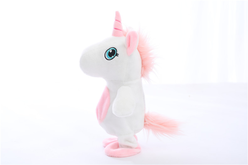 Купить с кэшбэком GGS Creative Electric Talking unicorn Stuffed Animal Unicorns Walking repeater electronic plush Toy for children Kid toys