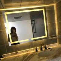 transverse Warm light Led Backlit Bathroom Mirror Square Wall Mount Bathroom Finger Touch Light Mirror Bath Mirrors