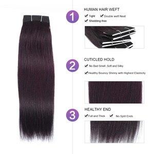 Темно-красный фиолетовый пучок человеческих волос с закрытием фиолетовые цветные 3 пучка с закрытием перуанские прямые Noremy Shiningstar