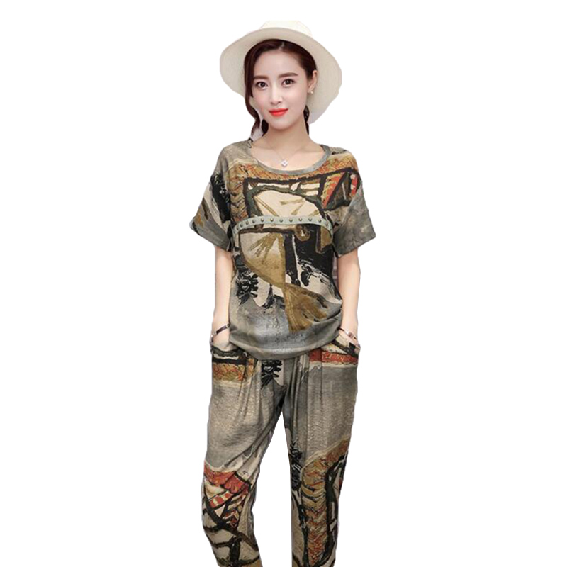 Summer Large size 2Piece Suit Sportswear Women Printing Sets Printing Cotton Linen2 Piec ...