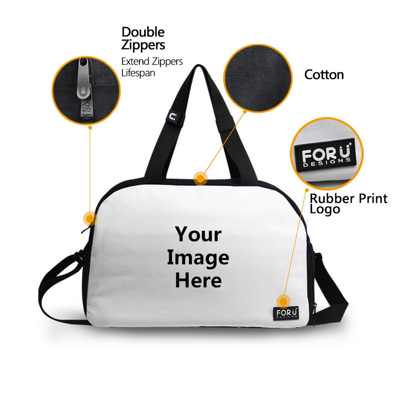 6bae24430fb FORUDESIGNS Travel Duffle Tote Bag for Women Men 3D Animal Pug Dog Husky  Puzzle Portable Canvas Bag Large Bag with Bottle Pocket-in Travel Bags from  Luggage ...