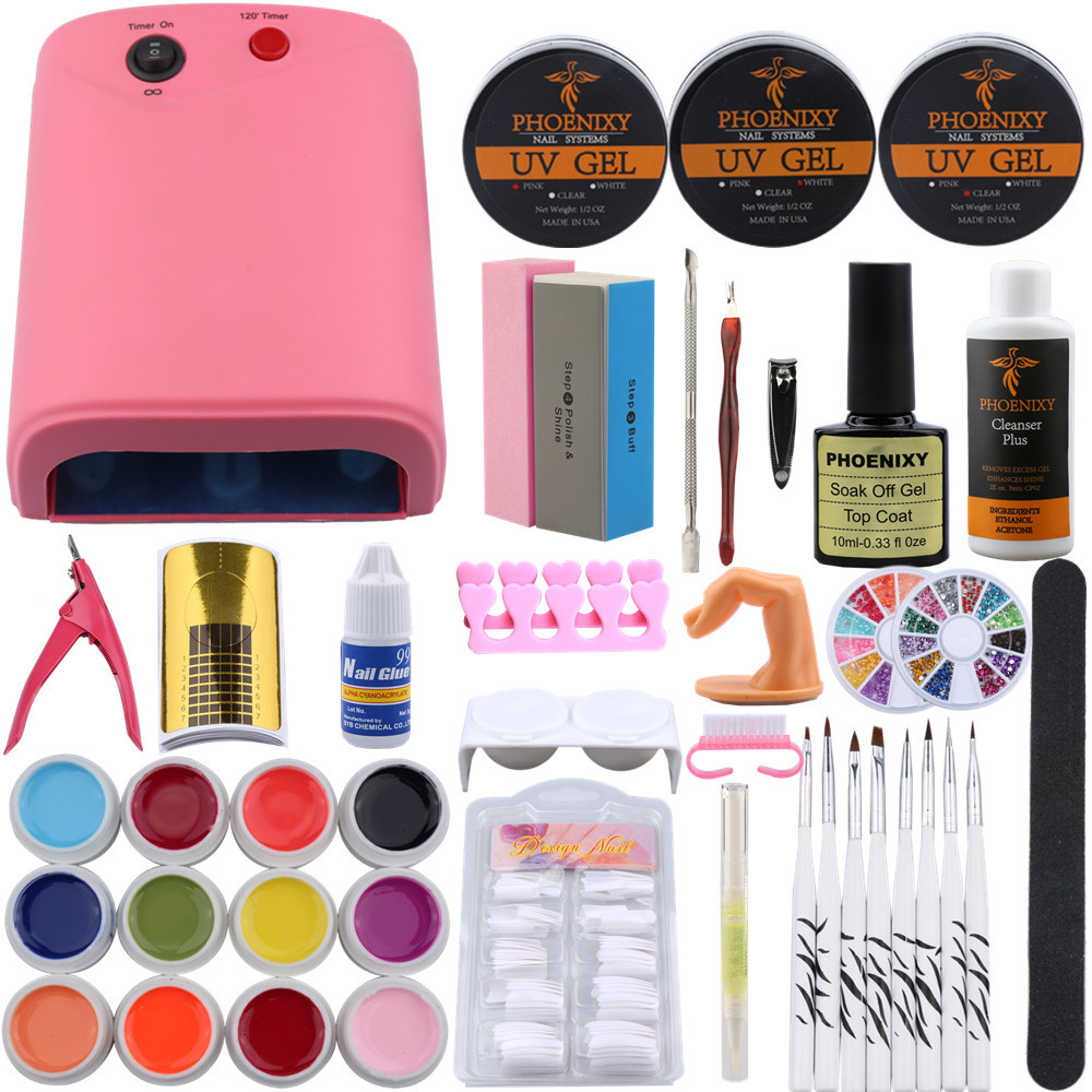 36W Nail Dryer Lamp UV Gel Nail Art Kits Manicure UV Gel Polish Set French Tips UV Gel Brush Glitter Powder Nail Extension Set pro starter kit nail salons kit nail art acrylic powder french tips 9w uv lamp glitter powder uv gel manicure set