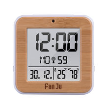 FanJu Digital Alarm Clock LED DCF Radio Dual alarm Automatic Backlight Electronic Temperature Humidity Table Time Office Gift(China)
