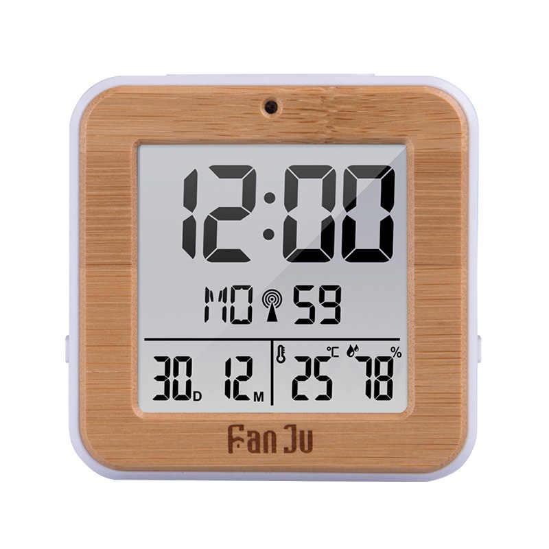 FanJu デジタルアラーム時計 LED DCF ラジオデュアルアラーム自動バックライト電子温度湿度テーブル時間オフィスのギフト