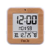 FanJu dijital alarmlı saat saat LED DCF radyo çift Alarm otomatik arka işık elektronik sıcaklık nem masa saati ofis hediye