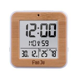 Image 1 - Fanju digital despertador led dcf rádio duplo alarme automático backlight eletrônico temperatura umidade mesa de tempo presente escritório