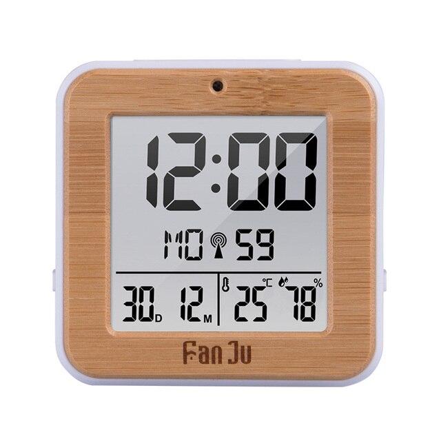 Fanju digital despertador led dcf rádio duplo alarme automático backlight eletrônico temperatura umidade mesa de tempo presente escritório