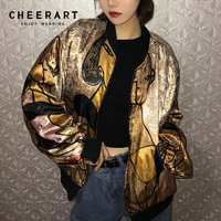 Cheerart Harajuku Gold Jacket Print Satin Jacket Loose Designer Coats Glitter Thin Baseball Jacket Streetwear Autumn
