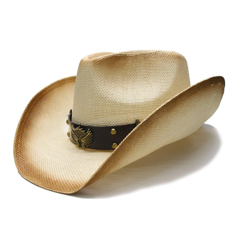 73c27b50a6448 Suncha Estilo Retro das Mulheres dos homens de Verão de Palha chapéu de Aba  Larga Praia Chapéu Fedora Cowboy Cowgirl Ocidental Duas Armas de Couro  banda 58 ...