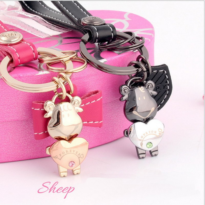 Milesi - New  Brand Creative Couple Sheep Keychain Key chain Ring for Women Men Novelty innovative Items Lover Trinket K0171