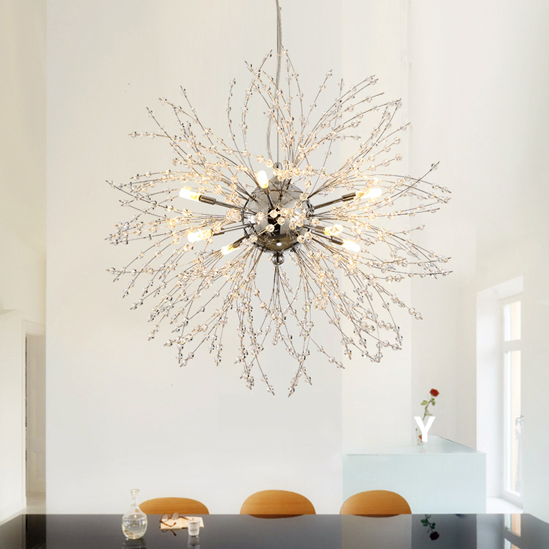 Nordic 110V-240V Crystal Dandelion Pendant Lamp Personalized Luxury Romantic Pendant Lights Creative Chandelier For Living Room Restaurant (1)