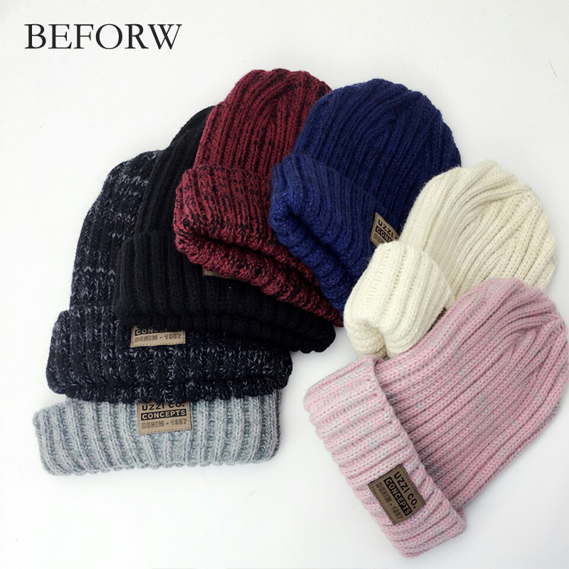 BEFORW Solid Design Skullies Bonnet Winter Hats For Women  Fashion Warm Cap Hat Girl 's Wool Hat Knitted Beanies Cap Casual skullies