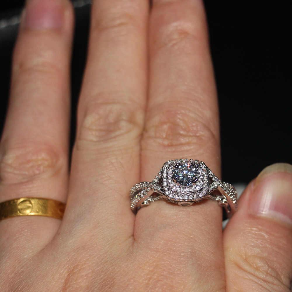 Choucong ценные украшения Подлинная 1ct камень 5A Циркон Cz стерлингового серебра 925 свадебное кольцо для женщин кольцо