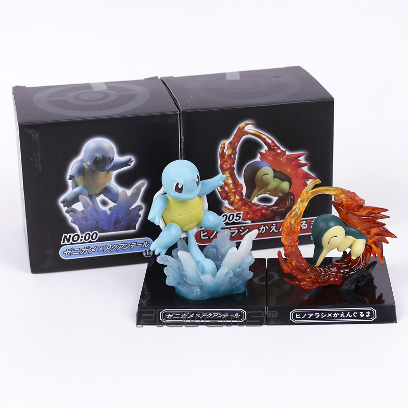 Anime Cartoon  Squirtle / Cyndaquil Fighting ver. PVC Figure Collectible Model Toy