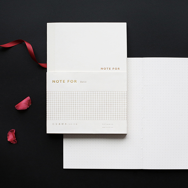 White Gold Basic Notebook Lined Ruled Blank Plain Squared Dotted Bullet Journal Bujo Notebooks Writing Pads