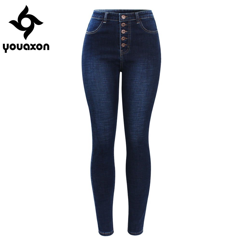 2141 Youaxon New Arrived High Waist Jeans For Women Stretchy Dark Blue Button Fly Denim Skinny Pants Trousers