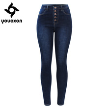Womail modis Autumn stretch high waist casual straight-breasted jeans femme solid