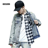 Men Autumn Winter New Denim Jacket High Street Fashion Hip Hop Broken Holes Male Casual Loose