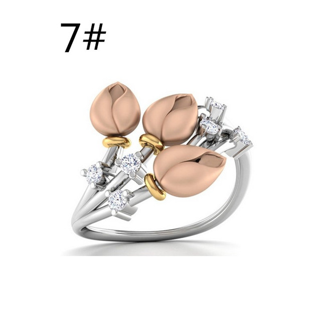 Crazy Feng Romantic Rings For Women Jewelry Flower Buds Branch Wedding Engagement Bague Bijoux Valentine Gift Silver Color Aneis